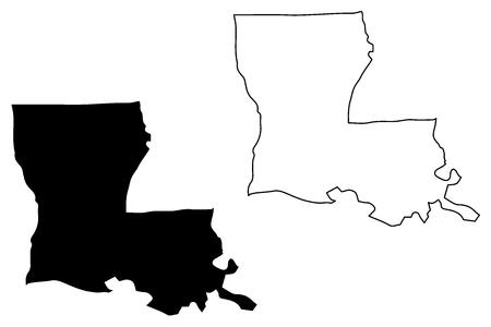Ilustración de Louisiana map vector illustration, scribble sketch Louisiana map - Imagen libre de derechos