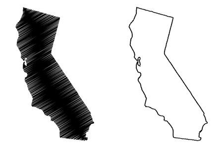 Ilustración de California map vector illustration, scribble sketch California map - Imagen libre de derechos