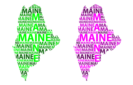 Sketch Maine (United States of America) letter text map, Maine map - in the shape of the continent, Map Maine - green and purple vector illustration