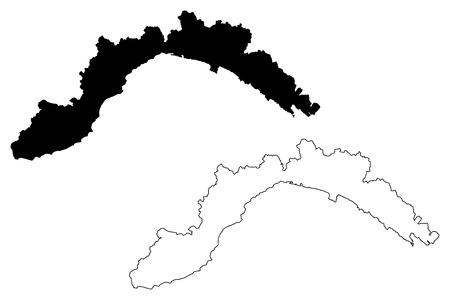 Liguria (Autonomous region of Italy) map vector illustration, scribble sketch Liguria map