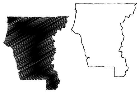 Del Norte County, California (Counties in California, United States of America,USA, U.S., US) map vector illustration, scribble sketch Del Norte map