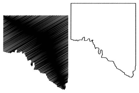 Val Verde County, Texas (Counties in Texas, United States of America,USA, U.S., US) map vector illustration, scribble sketch Val Verde map