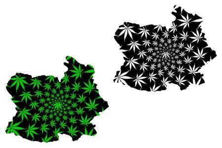 Chai Nat Province (Kingdom of Thailand, Siam, Provinces of Thailand) map is designed cannabis leaf green and black, Chai Nat map made of marijuana (marihuana,THC) foliage
