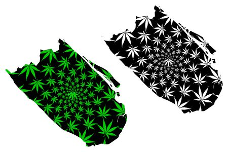 Tra Vinh Province (Socialist Republic of Vietnam, Subdivisions of Vietnam) map is designed cannabis leaf green and black, Tinh Tra Vinh map made of marijuana (marihuana,THC) foliage