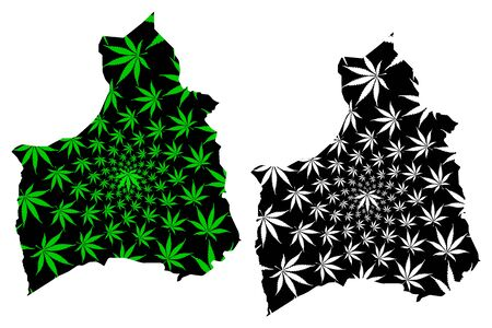 Arica y Parinacota Region (Republic of Chile, Administrative divisions of Chile) map is designed cannabis leaf green and black, Arica y Parinacota map made of marijuana (marihuana,THC) foliage