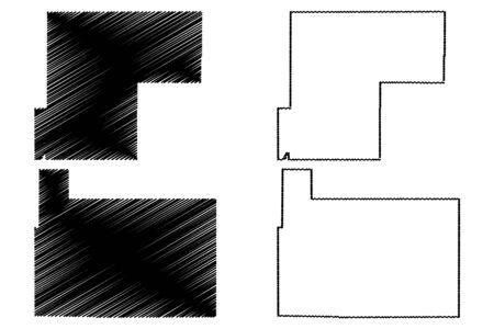 Rio Grande and Weld County, Colorado (U.S. county, United States of America,USA, U.S., US) map vector illustration, scribble sketch Rio Grande and Weld map