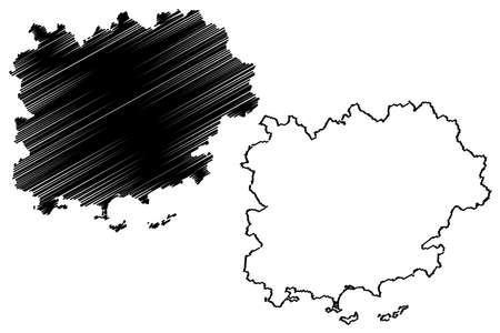 Var Department (France, French Republic, Provence-Alpes-Cote dAzur region) map vector illustration, scribble sketch Var map