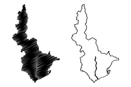 Illustration for Shizuoka City (State of Japan, island country, Chubu region) map vector illustration, scribble sketch City of Shizuoka map - Royalty Free Image