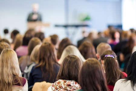 Foto de Male Lecturer Speaking In Front of the Audience During The Conference. Horizontal Image Composition - Imagen libre de derechos