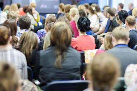 Photo pour Large Group of People Attending Conference.Horizontal Image Composition - image libre de droit