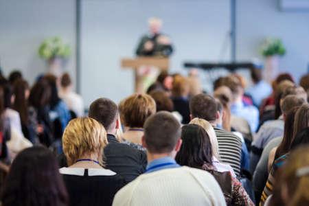 Photo pour Large Group of People Listening At The Conference. Horizontal Image Composition - image libre de droit
