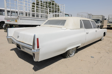 Vintage american Cadillac fleetwood limousine left abandoned