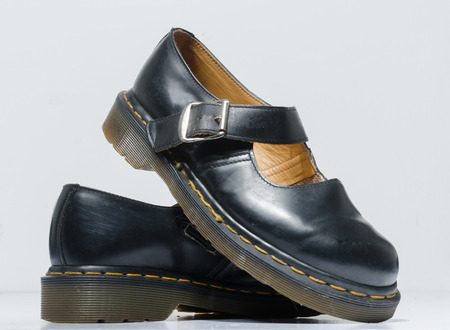 london, england, 05/05/2019 DR MARTENS 5026 MARY JANE VINTAGE SHOES DARK BLUE ORIGINAL MADE IN THE UK. fashionable punk historic british made leather boots. dr martens air war with bonding soles.