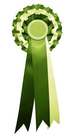 Photo pour A stylish retro vintage Award rosette medal badge with ribbon in a dark green party color. isolated and cutout on white. elections and political party. - image libre de droit