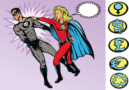 Superhero versus Villain.  Both are fully drawn on separate layers, and can be moved.