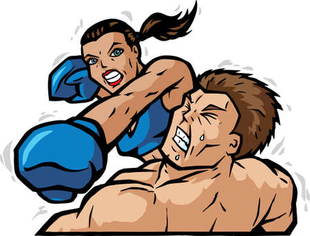 Cartoon of a female boxer knocking out the guy