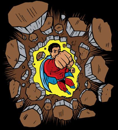 Superhero flying through and smashing a wall