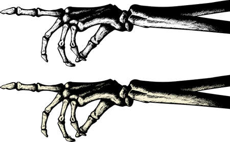 Illustration pour Ink drawing of a pointing skeleton hand - image libre de droit