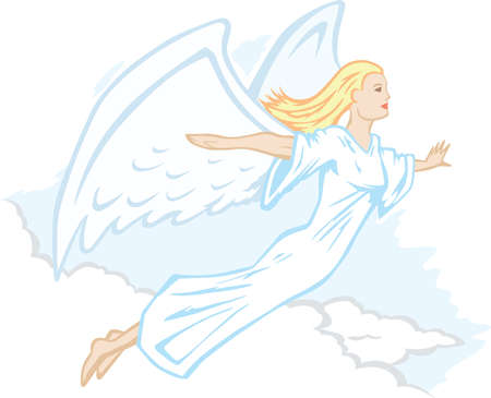 Stylized angel, flying or floating through the clouds.