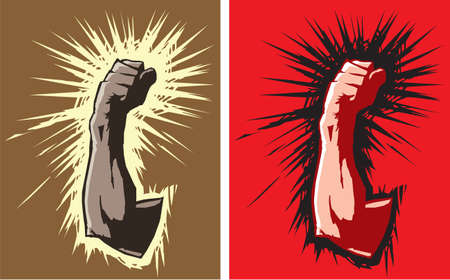 Stylized drawings of a fist