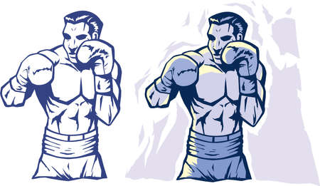 Drawing of a stylized boxer