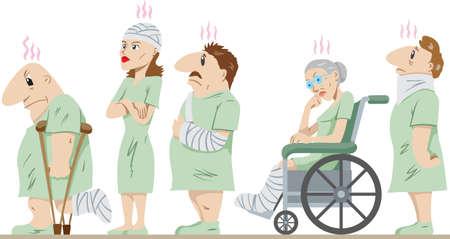 Lineup of injured people