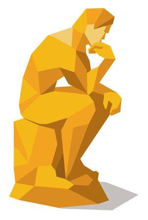 Illustration pour Thinking man squared - image libre de droit