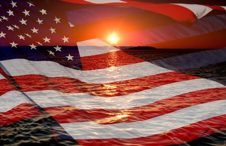 America patriotic concept with sunrise.
