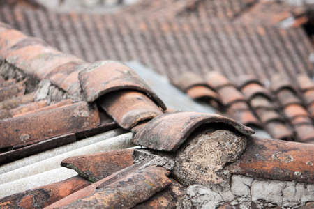 typical red clay tile roofs in old Centro Quito, Ecuador