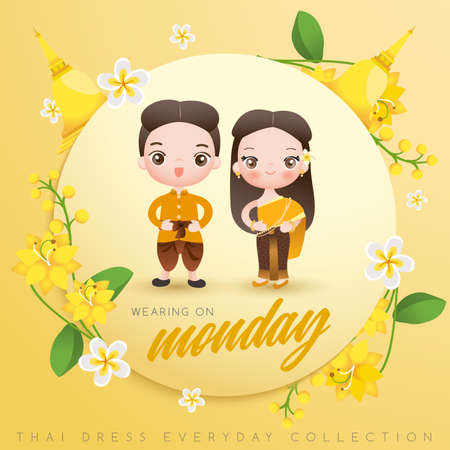 Illustration pour Boy and girl wearing traditional Thai dress : Vector Illustration - image libre de droit