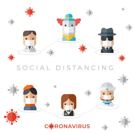 Social Distancing of different professions in Coronavirus pandemic situation isolated on white background : Vector Illustration