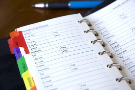 address page on personal organizer