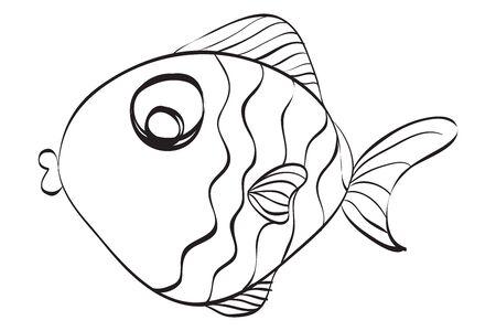 Illustration pour hand drawn cute fish illustration.  Black and white illustration for coloring book. - image libre de droit