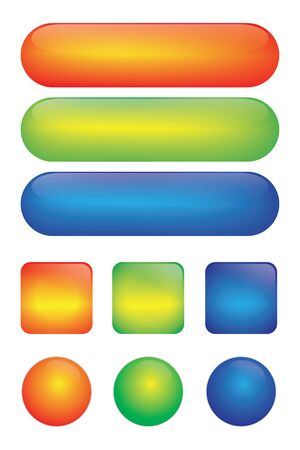 Illustration pour Blank web glossy buttons for icon. Set of colored web icons. square button, web bubbles. red, green, blue. - image libre de droit