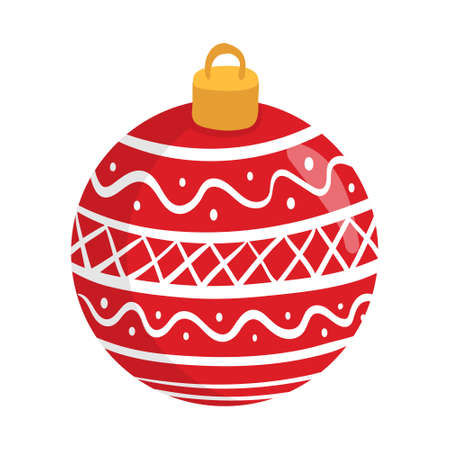 Red Ball Ornament For Christmas. Christmas Clipart Graphic Elements. Hand Drawn Christmas Ball