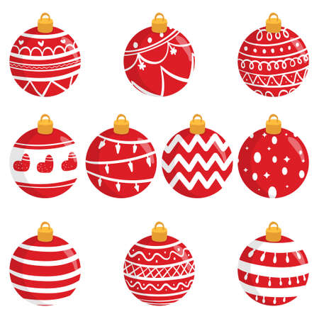 Illustration pour Red Ball Ornament For Christmas. Christmas Clipart Graphic Elements. Hand Drawn Christmas Ball - image libre de droit