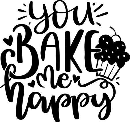 Illustration pour Motivational Inspirational Quotes. Baking Kitchen Lettering Quotes for Poster and T-Shirt Design - image libre de droit