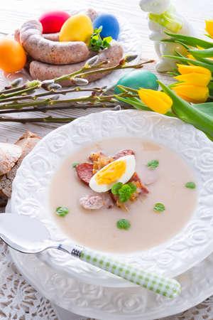 Polish Easter soup with egg and sausage