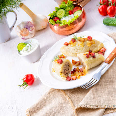 Rustic Cepelinai, a specialty Lithuanian and Polish cuisine.