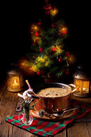 Foto de a christmas mushroom soup of polish style - Imagen libre de derechos