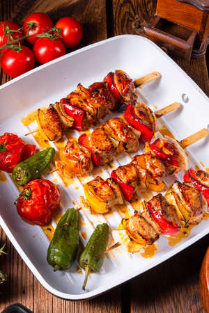 Photo for marinated kebab skewers with meat and vegetables - Royalty Free Image