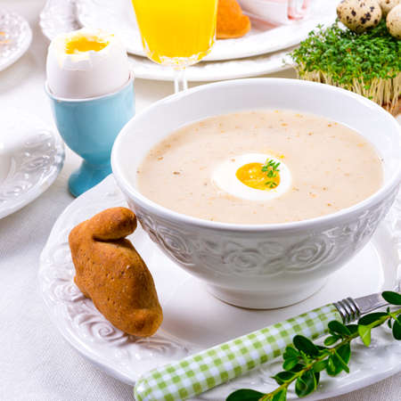 Easter in Polish: sour flour soup for Easter breakfast (Å»urek)