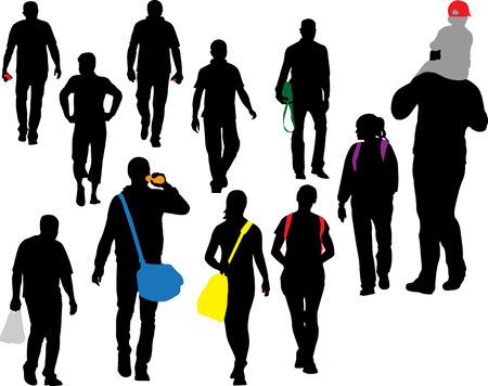 Illustration pour people walking vector silhouette - image libre de droit