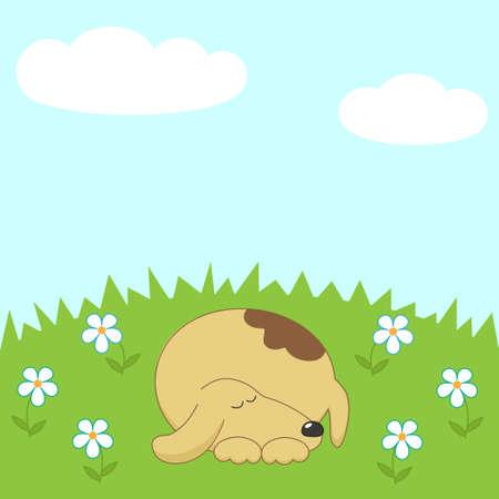 Dog sleeping on the meadow vector