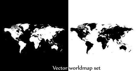Vector world map illustration isolated over white and black ...