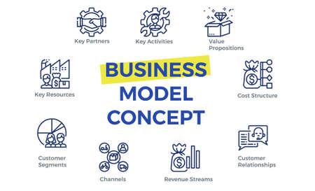 Ilustración de Business model canvas template with icons. - Imagen libre de derechos