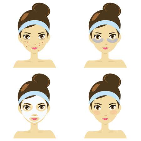 Illustration pour Illustration of woman with skin care steps. - image libre de droit
