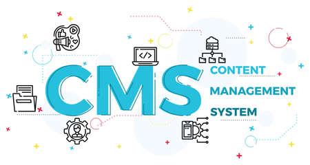 Illustration pour Illustration of content management system concept,CRM. - image libre de droit