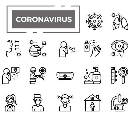 Ilustración de Coronavirus (Covid-19) icons for health issue, presentation, website and hospital. - Imagen libre de derechos