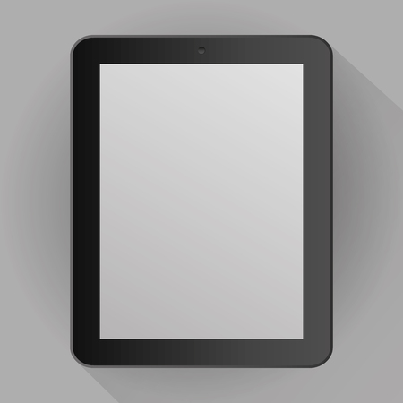 Illustration pour Realistic gray tablet isolated on gray background with shadow. vector illustration - image libre de droit
